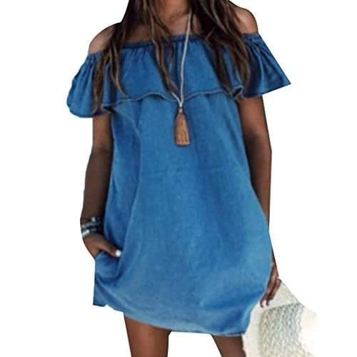 Abetteric Women Cargo Pocket Off Shoulder Ruffled Faux Denim Short Dress