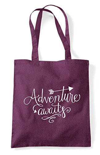 Awaits Tote Statement Plum Adventure Bag Shopper Z0R6w6qx