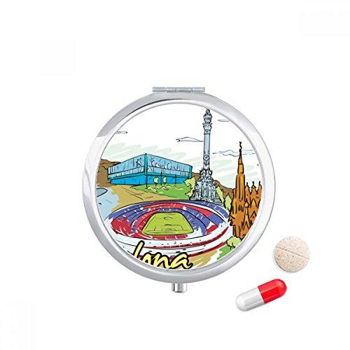 Spain Barcelona Monument Watercolor Travel Pocket Pill case Medicine Drug Storage Box Dispenser Mirror Gift by DIYthinker