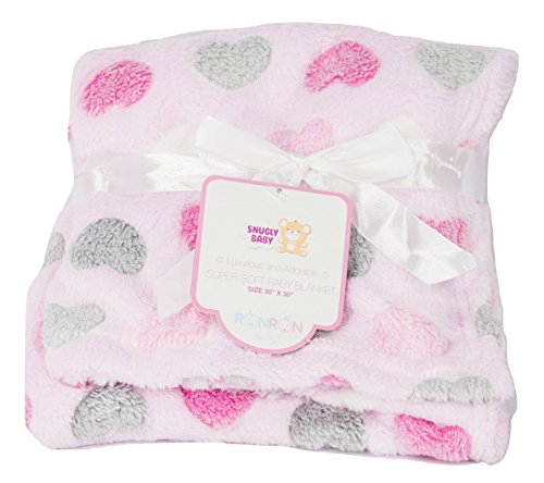 Heart Baby Blanket (Snugly Baby Light and Cozy Plush Baby Blanket (Pink Hearts))