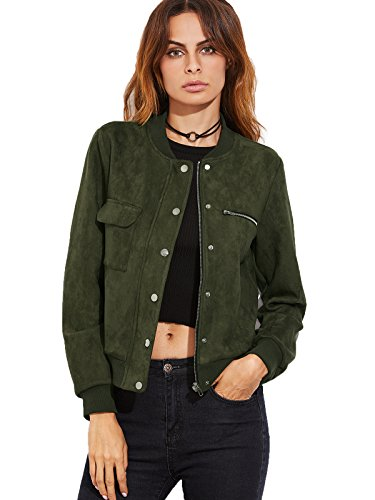 Milumia Women's Suede Stand Collar Hidden Zip Bomber Short Jacket Large Olive Green (Wool Short Jacket Zip)