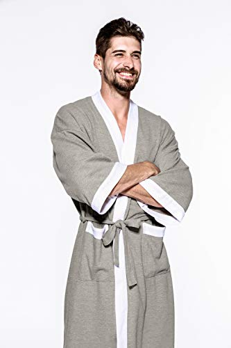 Grigio Bordo Cotone Unita Accappatoio Da Tinta Robe Kimono Rojeam Bianco In Uomo UPwxXPqz