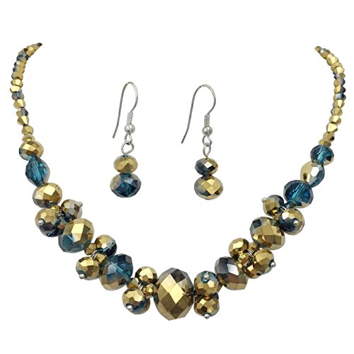 - Glass Cluster Beads Silver Tone Statement Necklace & Dangle Earrings Set (Teal Blue Copper Tone)