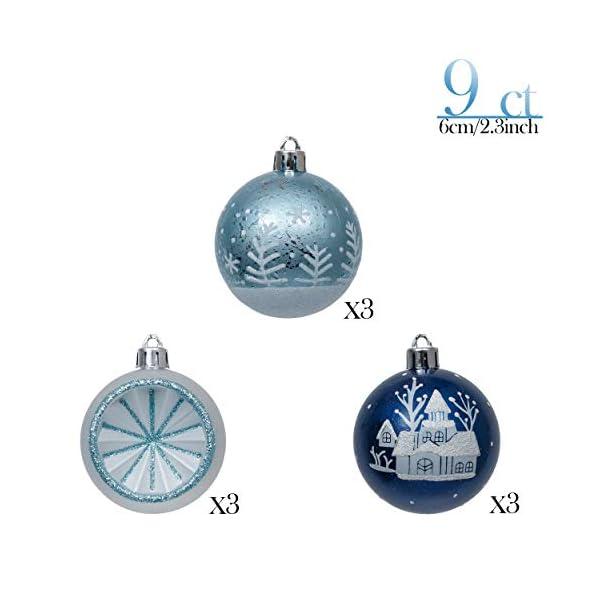 Valery Madelyn Palle di Natale 9 Pezzi 6cm Palle di Natale, Winter Wishes Argento e Blu Infrangibile Palla di Natale Ornamenti Decorazione per la Decorazione Dell'Albero di Natale 3 spesavip