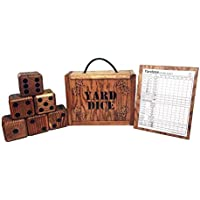 Yard Dice Set includes 8 player Yardzee dry erase scorecard, 6 Giant Wooden Dice and wood storage box - Lawn Dice yard games are perfect for weddings, picnics, barbeques and more.
