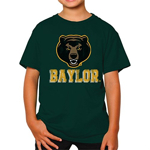 Original Retro Brand NCAA Baylor Bears Youth Boys Tee, Small, Forest