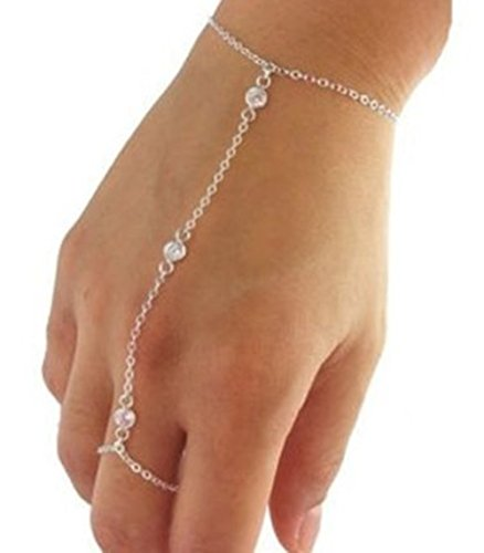Multi Chain Tassel Crystal Bracelet Slave Finger Ring - Red Wing 420