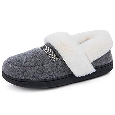 ULTRAIDEAS Women's Cozy Memory Foam Slippers with Fur Collar, Fleece Lining & Anti-Skid Rubber Sole