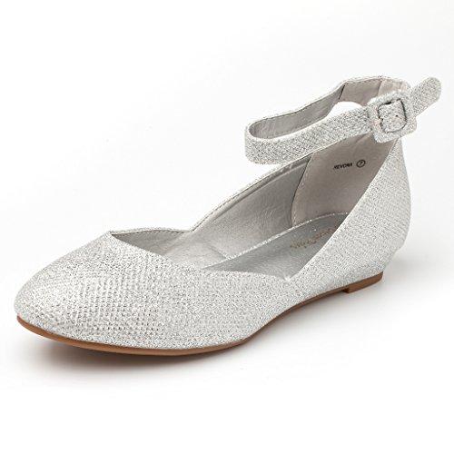 DREAM PAARS Frauen Revona Low Wedge Ankle Strap Wohnungen Schuhe Silberner Glitter