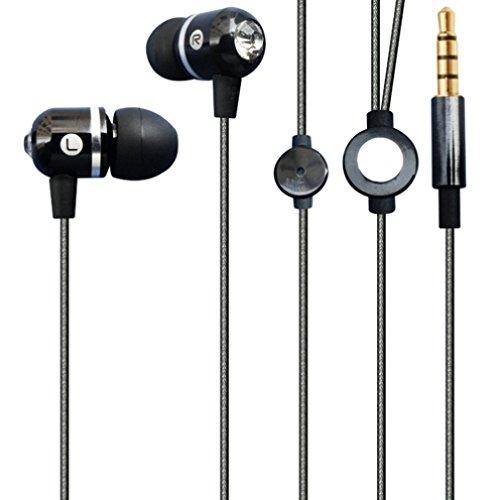 Premium Sound Sleek Wired Headset Metal Earbuds Earphones w