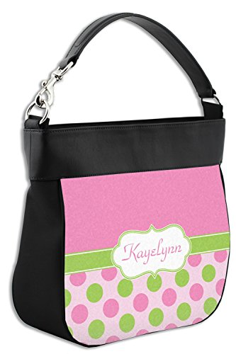 Purse Genuine Trim Green w Back Pink Front Leather Dots amp; Personalized amp; Hobo Yqw8I1f