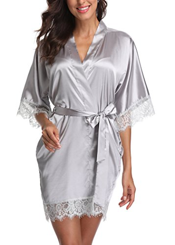 (Laurel Snow Short Satin Kimono Robes Women Pure Color Bridemaids Bath Robe With Lace Trim,Silver XL)