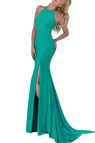 Lang Partykleider Damen Stehkragen Chiffon Blaugrün Etui Elegant Aermellos Missdressy Festkleider Abendkleider Schlitz nvxqA1Ox8w
