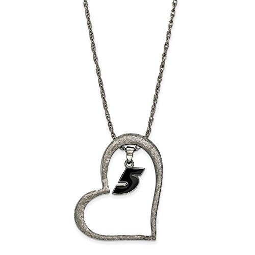 Kahne Steel Kasey Stainless Ladies - STAINLESS STEEL LogoArt Official Licensed NASCAR HEART W/ DRIVER #5 KASEY KAHNE DANGLE
