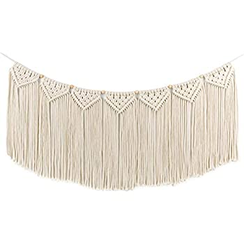 Macrame Woven Wall Hanging Curtain Fringe Garland Banner - BOHO Shabby Chic Bohemian Wall Decor - Apartment Dorm Living Room Bedroom Baby Nursery Art - Party Backdrop Decoration, 15