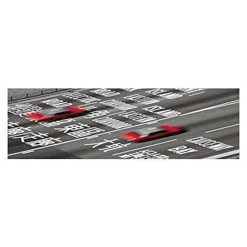 Dragonhome Fish Tank Background red Hong Kong Taxis on a Busy Interchange in Causeway Bay Pictures PVC Decoration Paper Cling Decals Sticker L23.6 x H11.8