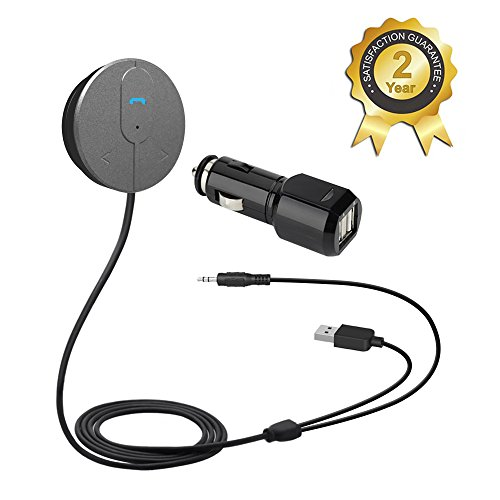 Besign Bluetooth 4.0 Car Kit Hands-Free Wireless Talking, Music Streaming Dongle With 10W Dual Port 2A USB Charger, Magnetic Mounts, for Car with 3.5mm Aux Input Jack (Aux Cable For Car Battery compare prices)