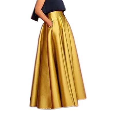 Lisong Floor Length Satin High Waist Prom Party Skirt for Women