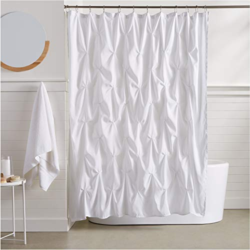 AmazonBasics Pinch Pleat Shower Curtain - White