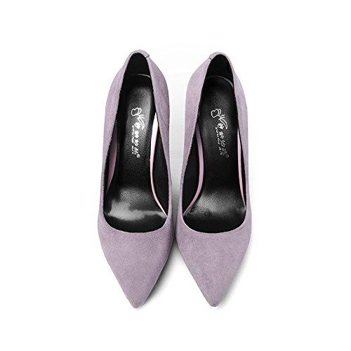 Partido Atractivo Fino Talón Forense Zapatos Zapatos De La Corte De Boda Mujer Nphm Negro De Satén De Tacón Alto De La Moda, Púrpura Polvo-10cm-ue: 39 / Uk: 6.5