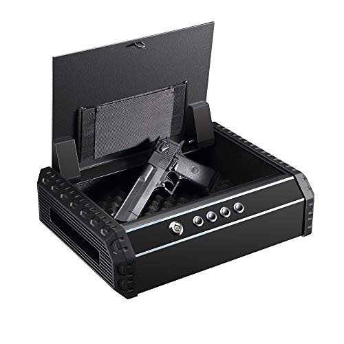 Champs Pistol Safe, Quick Access Gun Safe with 4 Digits Combination Code, Automatic Lid Open, Wall Mount Security