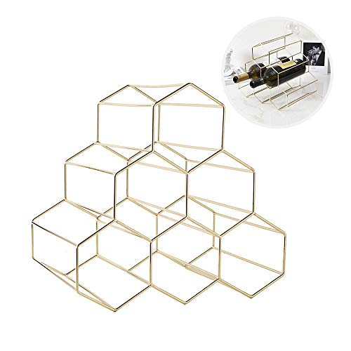 AUOKER Metal Wine Bottle Holder, Geometric Wine Rack Freestanding 6 Bottle Holder, Simple and Fashionable Metal Brushed Gold and Geometric Design, Space Saver Protector for Red & White Wines (Wine Bottle Holders Metal)