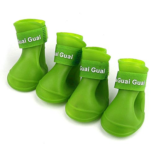 Boomboom Candy Color Pet Dog Boots Waterproof Rubber Pet Rain Shoes Booties (S, Green) (Dog Boots Rubber)