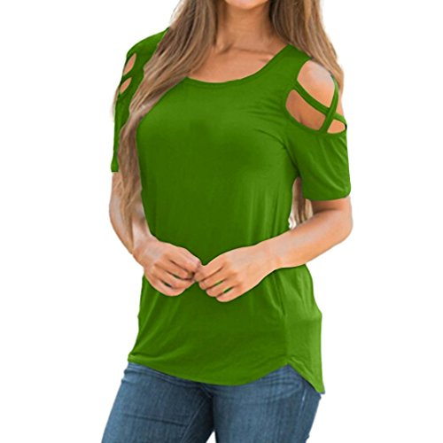 - CUCUHAM Women Summer Short Sleeve Strappy Cold Shoulder T-Shirt Tops (S, Green)