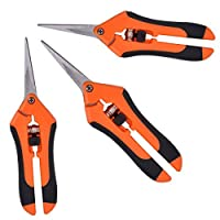 GROWNEER 3-Pack Pruning Shears Gardening Hand Pruning Snips with Straight Stainless Steel Precision Blades