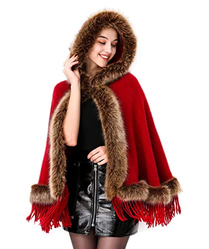 Faux Fur Shawl Hooded Cape Wrap Stole Shrug Bridal Winter Wedding with Hook Red -