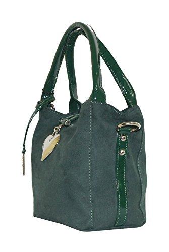 Mini Handtasche aus Alcantara, Grüntöne - Made in Italy