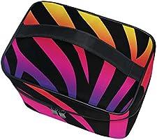 Amazoncom Travel Cosmetic Bag Rainbow Zebra Fur Wallpaper