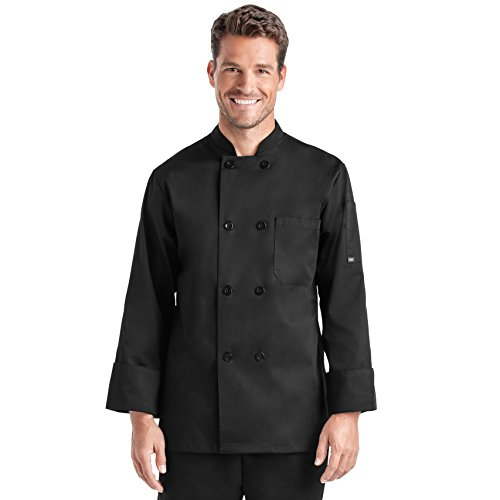 Unisex Long Sleeve Chef Coat/Double Breasted/Plastic Button Reversible Front Closure (S-2X, 2 Colors) (Black, Small)