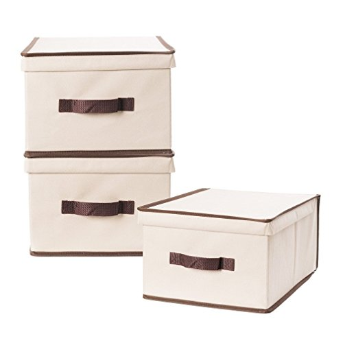 StorageManiac Canvas Storage Box with Lid, Foldable & Stackable Storage Bins, 3-Pack Large ()