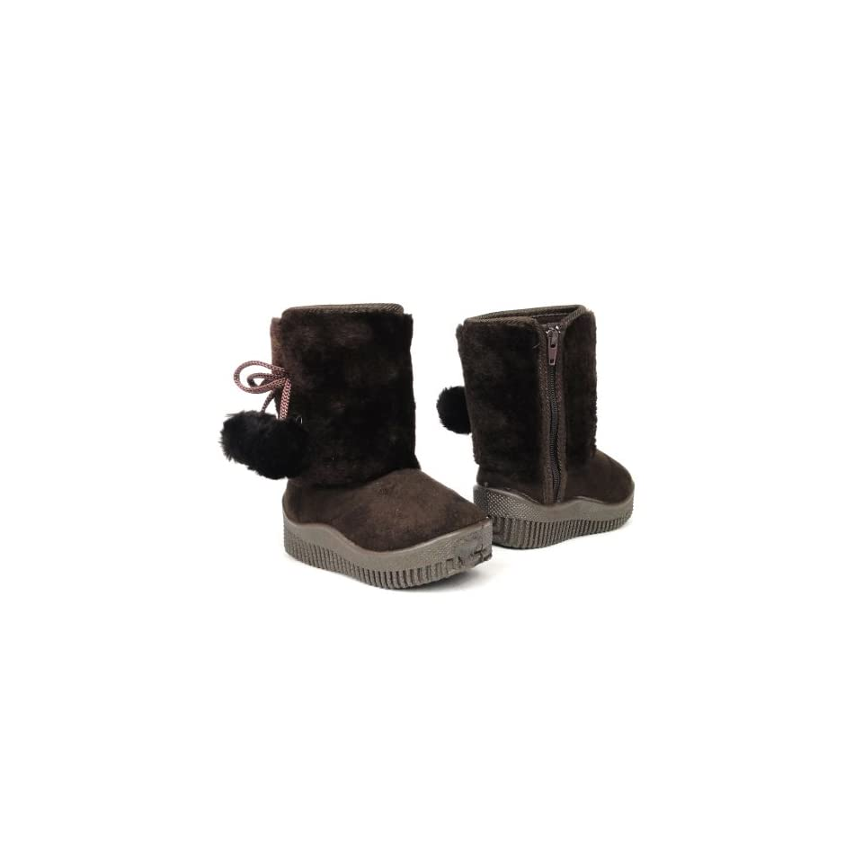 Infants Toddlers Girls Faux Fur Winter Booties Suede Boots Brown , 12
