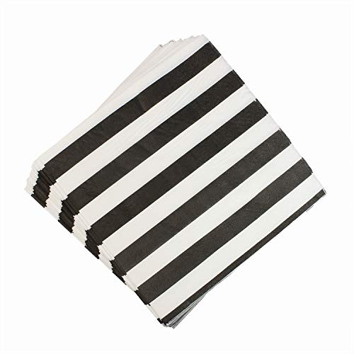 (YouMeBest Biodegradable Striped Paper Party Napkins,Black, 100 Count )
