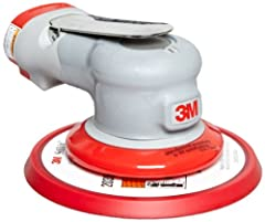 3M random orbital sander-elite series. Features an alloy steel curved-throttle lever with built-in wrist support, 3M gripping material molded into the interchangeable comfort grip, conveniently located speed control dial, and internal muffler...
