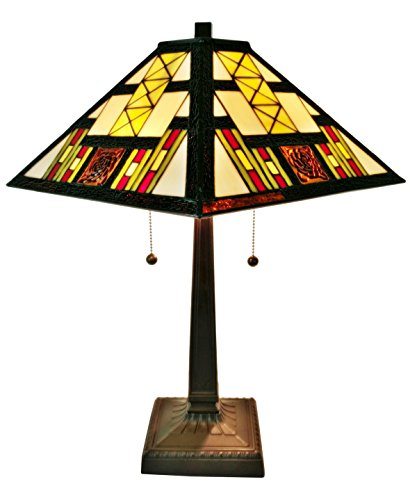 Amora Lighting AM201TL14 White/Red/Yellow/Brown Art Glass Tiffany-style Mission Table Lamp, - Art Brown Table Lamp Glass