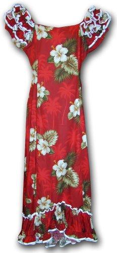 Hawaiian Muumuu Hibiscus Island Long Style Red 2XL 334-2798