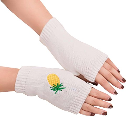 Floralby Women Warm Half-finger Mitten Embroidery Cartoon Pineapple Woolen Yarn Gloves (White)