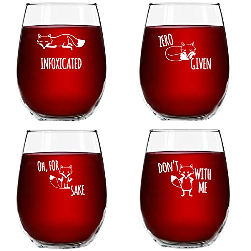 Funny Stemless Wine Glass Set | The Fox Series Pack of 4 Glasses Set | Infoxicated, Zero Fox Given, Oh for Fox Sake, Don't Fox with Me | Novelty Glasses With Cute Sayings for Women, Her | Made in USA from DU VINO