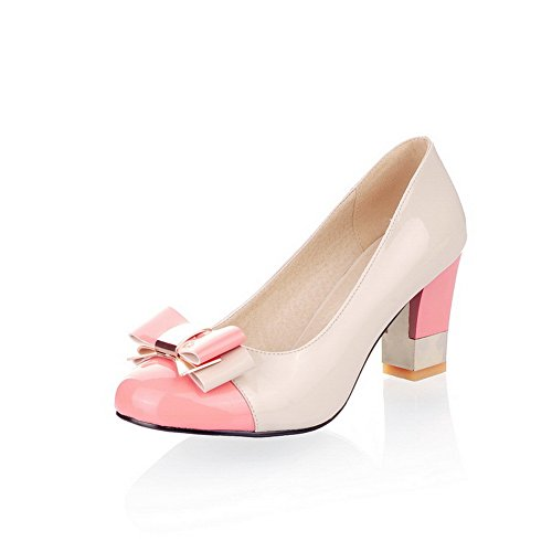 BalaMasa Girls Chunky Heels Spun Gold Bowknot Color Matching Thick Bottom Heel Patent Leather Pumps-Shoes Pink