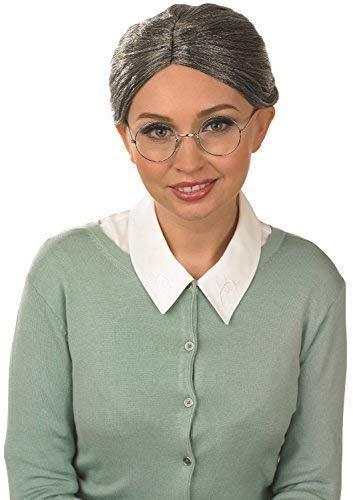 Damas Grises Mujer Mayor Abuela abuela + Gafas Disfraz Peluca Kit de accesorios