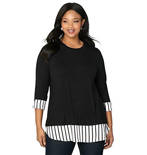 Avenue Women's Contrast 2fer Top, 26/28 Black