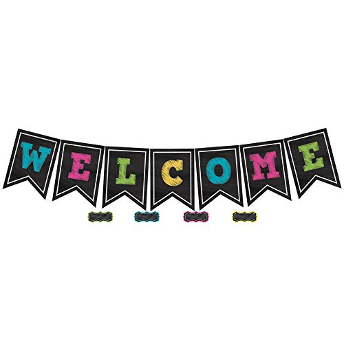 Teacher Created Resources TCR5614 Chalkboard Brights Pennants Welcome Bulletin Board, Paper, Multi (Math Chalkboard)