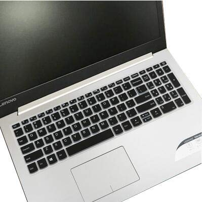 Saco Keyboard Silicon Protector for 15.6-inch Lenovo Ideapad 320-15ISK 80XH01DNIN (Black with Clear)