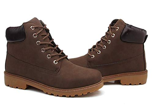 DADAWEN Women's Lace Up Low Heel Work Combat Boots Waterproof Ankle Bootie Brown US Size 11 by DADAWEN (Image #2)