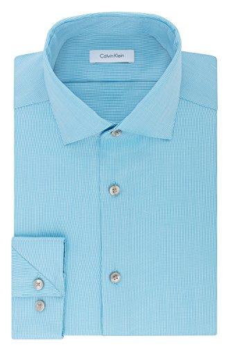 Calvin Klein Men's Non Iron Stretch Slim Fit Unsolid Solid Dress Shirt, Bermuda, 15.5