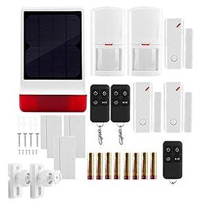 Professional Wireless Solar Siren Strobe, Burglar Security Alarm System with 3 Door Magnet + 2 PIR + 3 Remote Control