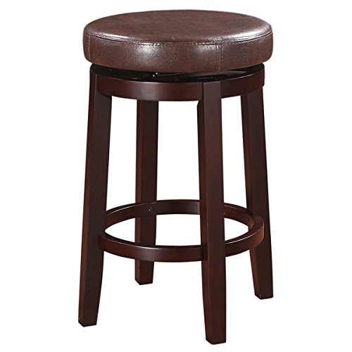 Linon Dorothy Lightweight Backless Counter Stool Brown Swivel Seat (Linon Set)